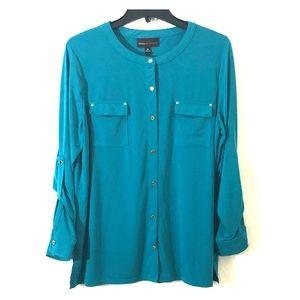 Dana Buchman Blue Button Down Blouse Size XL